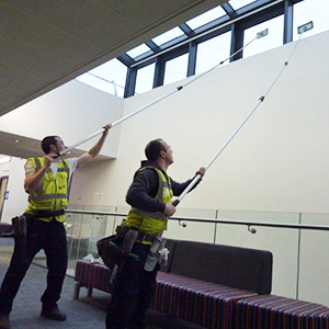 Window cleaning using pole system